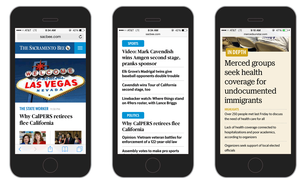 McClatchy sites on mobile devices