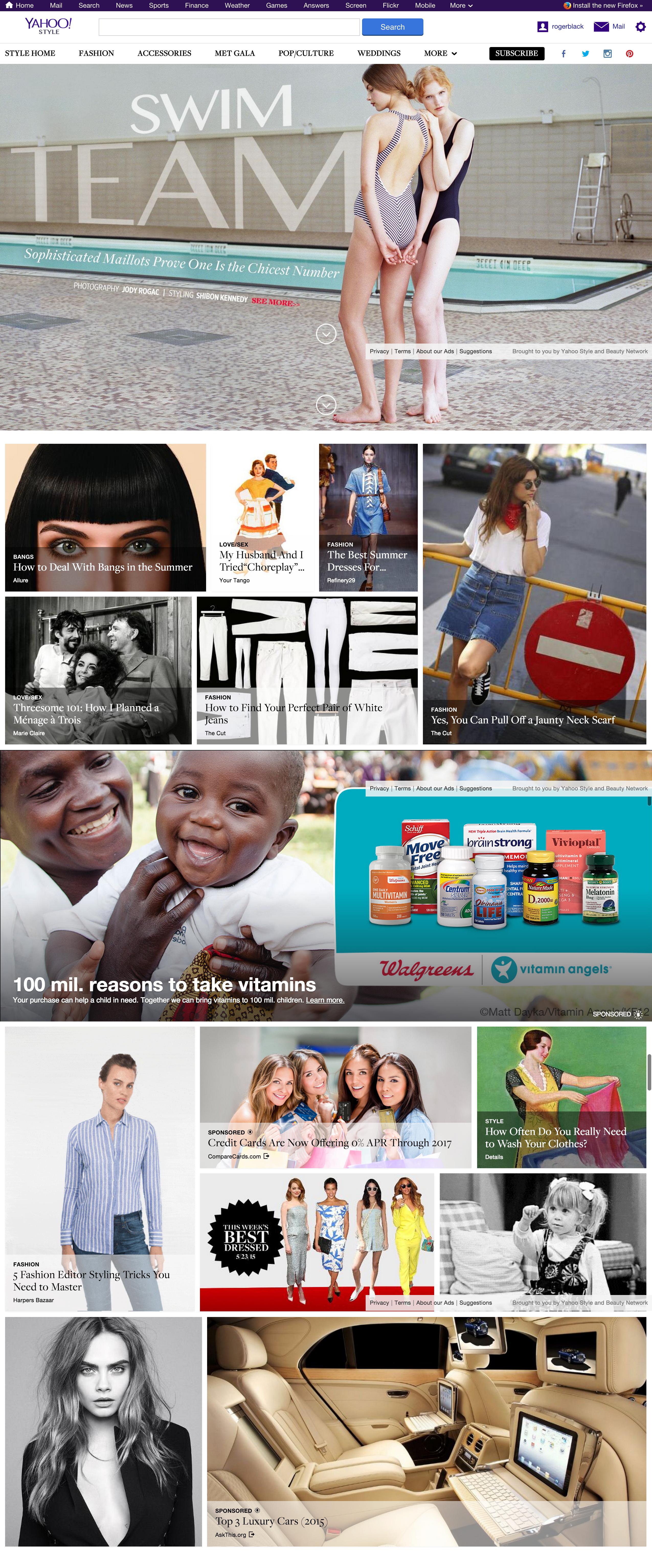 Desktop view of Yahoo Style